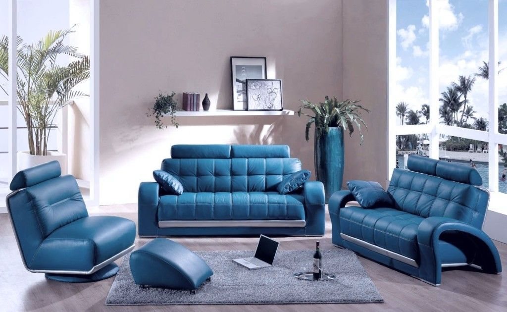 Blue Leather Furniture Set