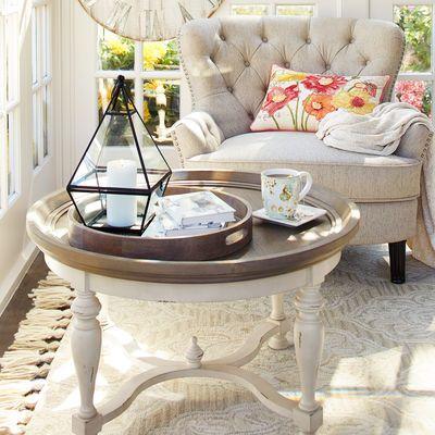 Amelia Natural Stonewash Round Coffee Table Living Room