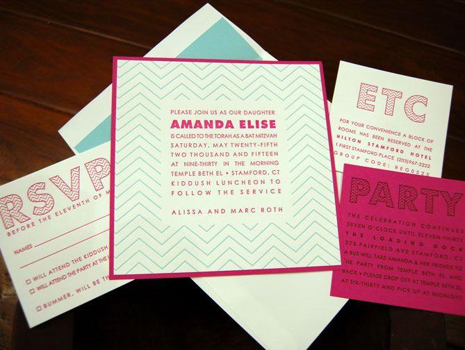 Modern Pink and Blue Bat Mitzvah invitation chevron inspired