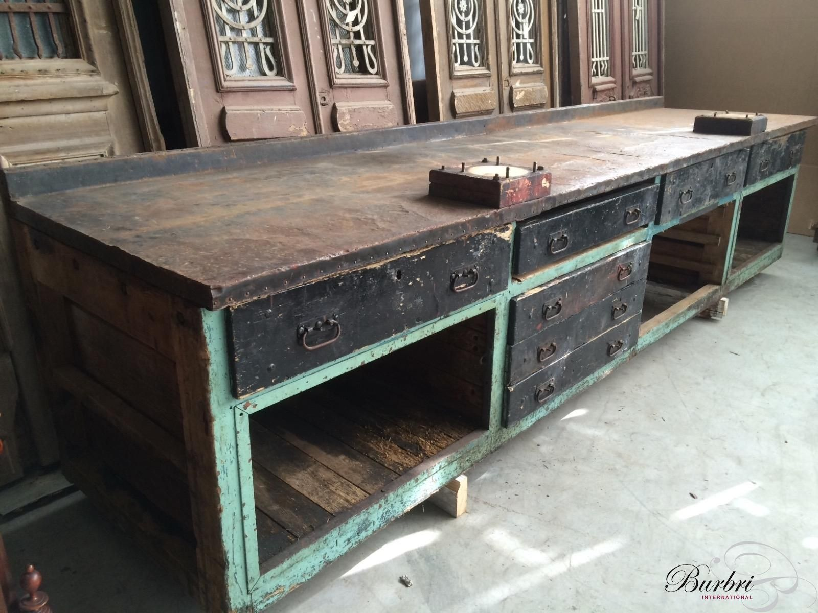 Industrial antique working bench old kitchen cabinet industriële