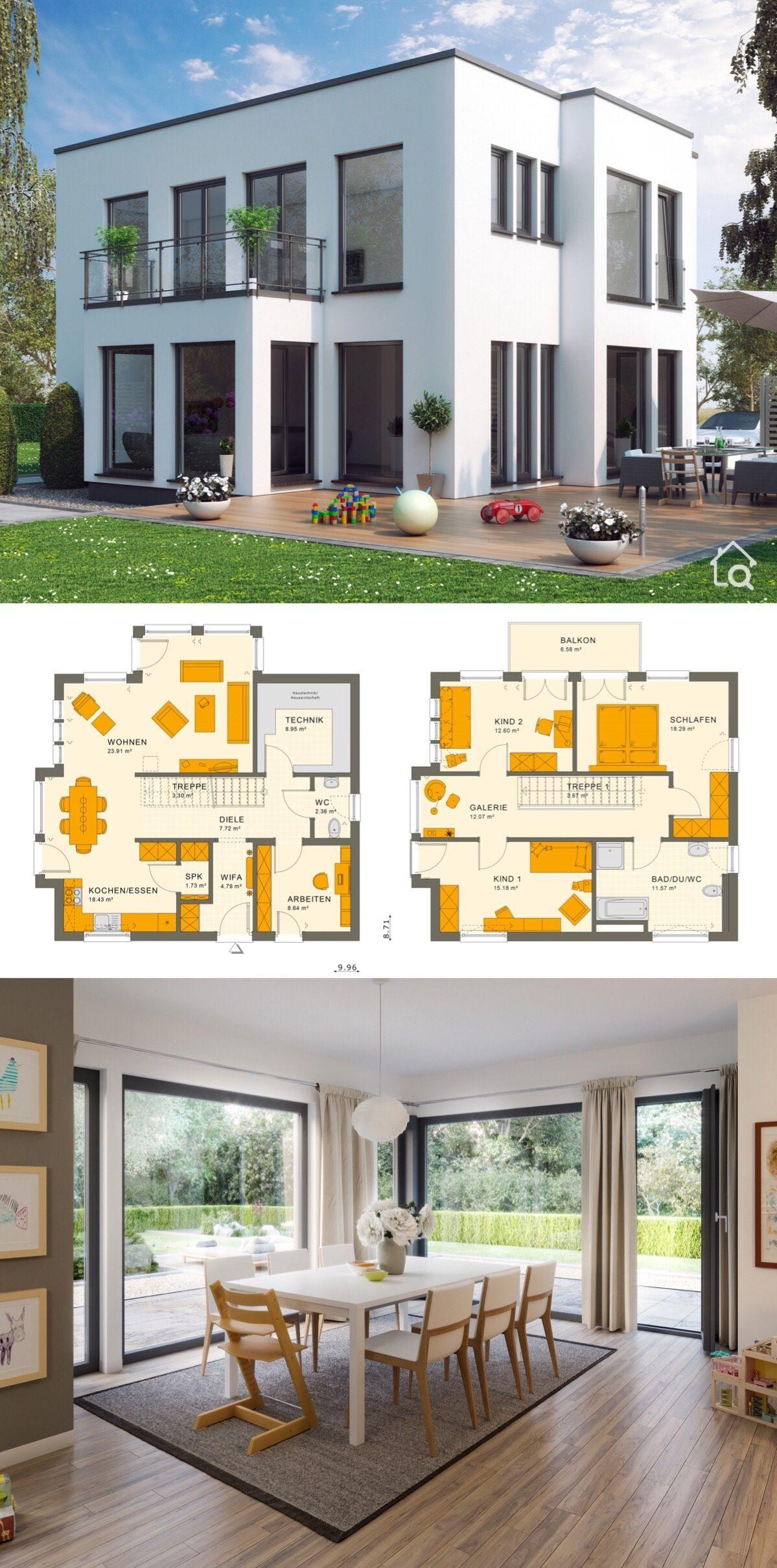 Fertighaus Stadtvilla modern im Bauhausstil, 5 Zimmer