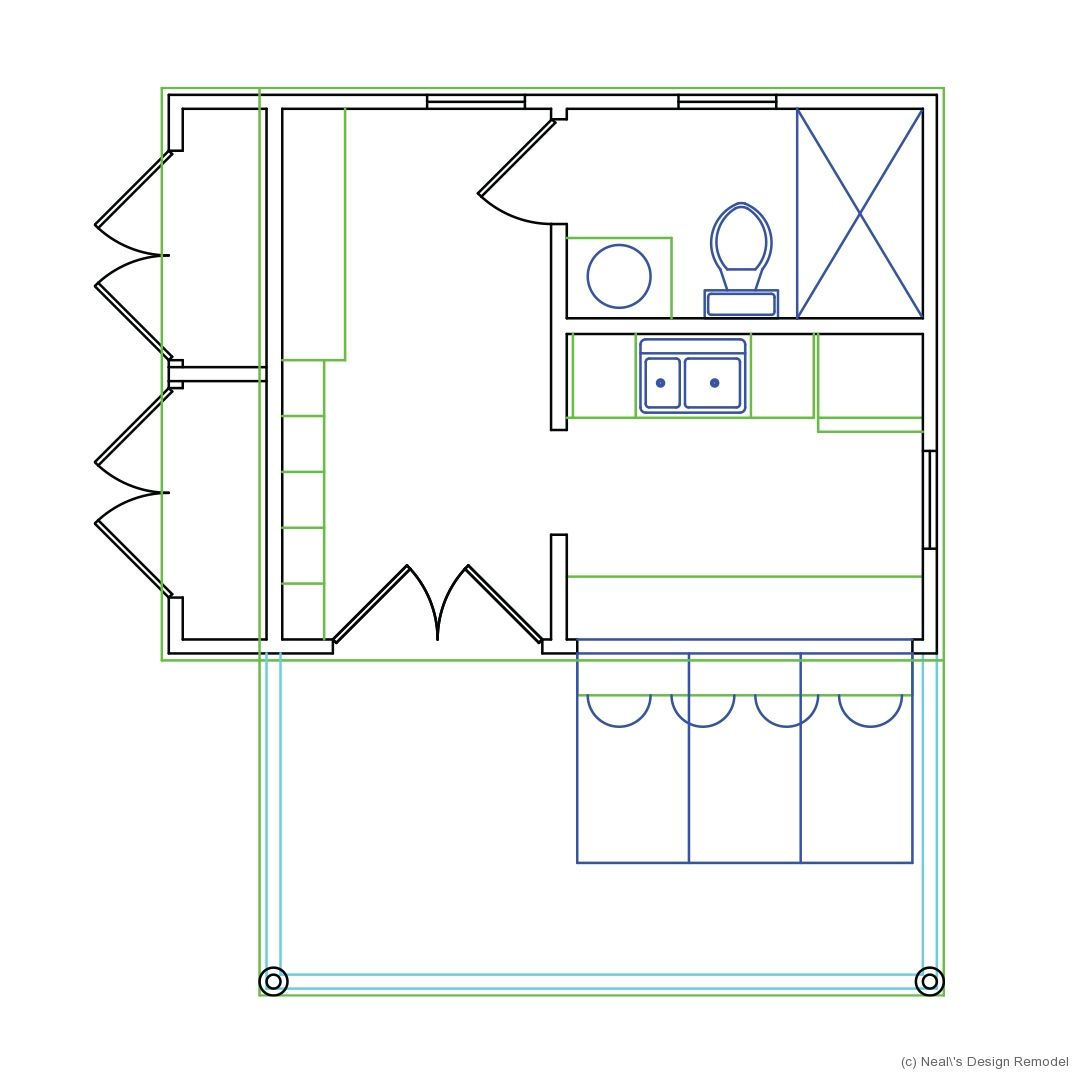 pool house floor plan includes a kitchenette full bath open
