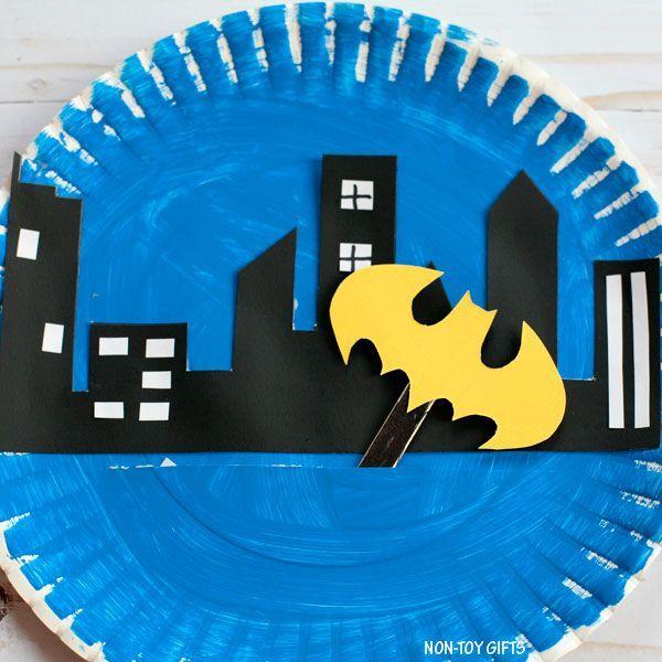 Paper plate Batman craft for kids