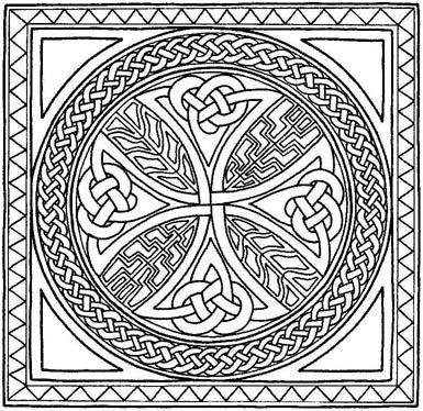 Celtic Border Patterns Free Cross Coloring Pages