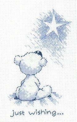 Just Wishing 'Justin' Teddy Bear cross stitch card kit
