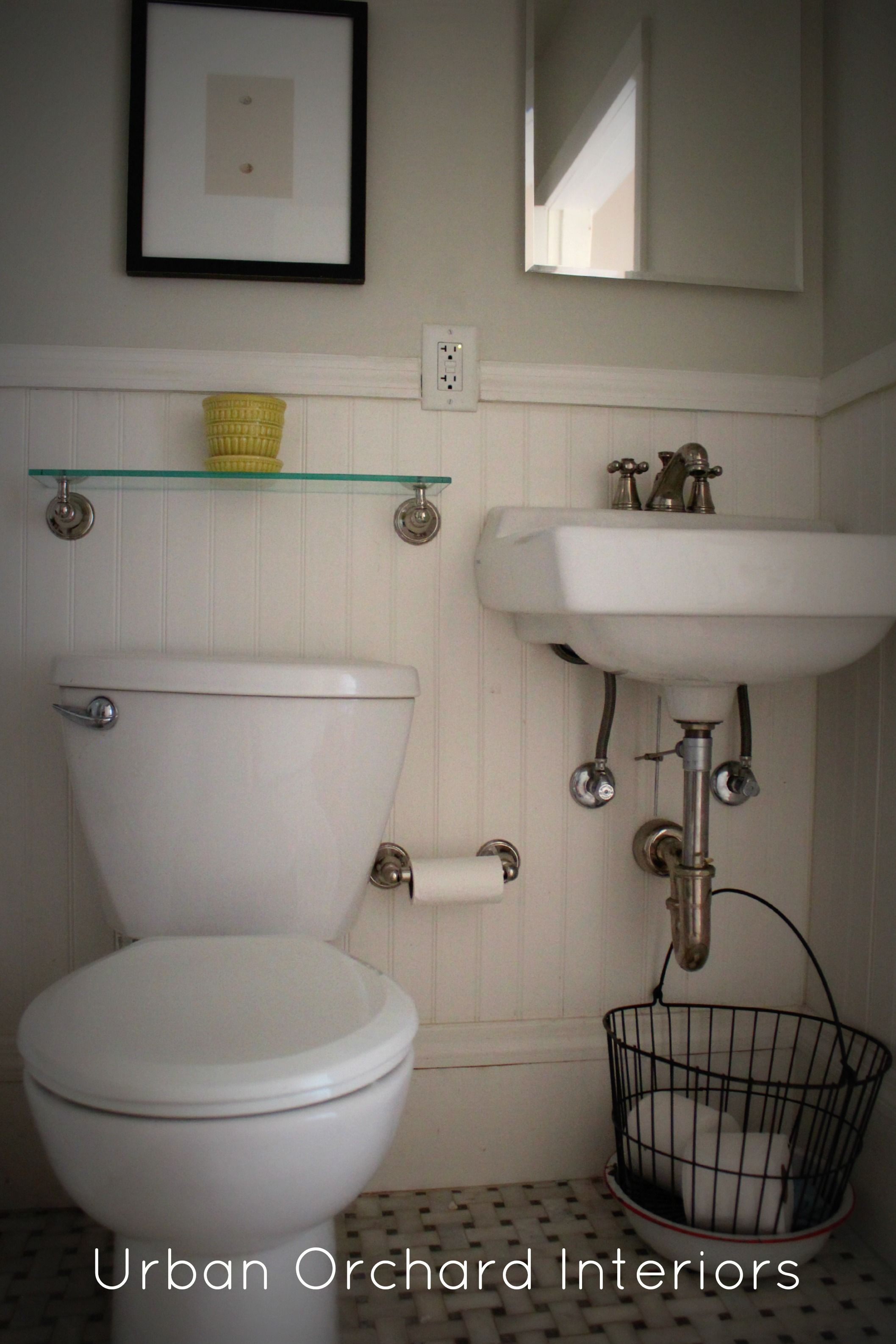 Remodel Option: Bead Board Wainscot, Wall Mount Sink, Glass Shelf