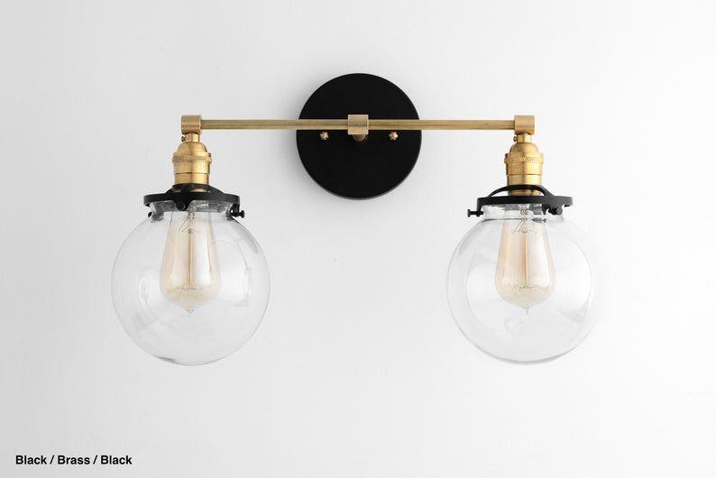 Photo of Black Vanity – Light Fixture – Bathroom Vanity – Black Light Fixture – Mid Century Vanity – Edison Bulb – Model No. 3199