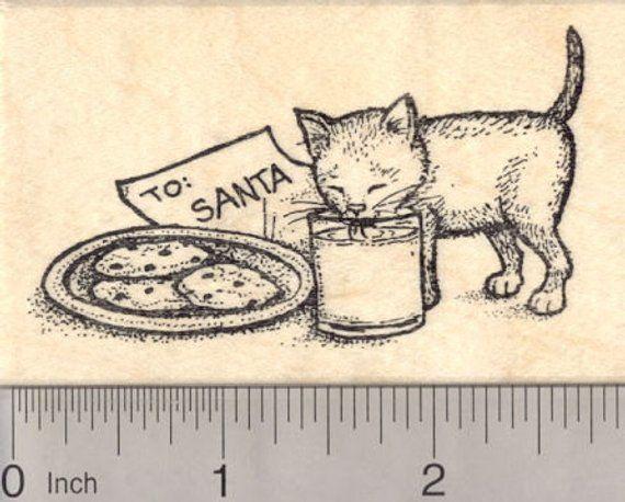 Christmas Eve Kitten Drinking Santa S Milk Rubber Stamp Cat J19501 Wood Mounted Stamp Kittens Christmas Cats