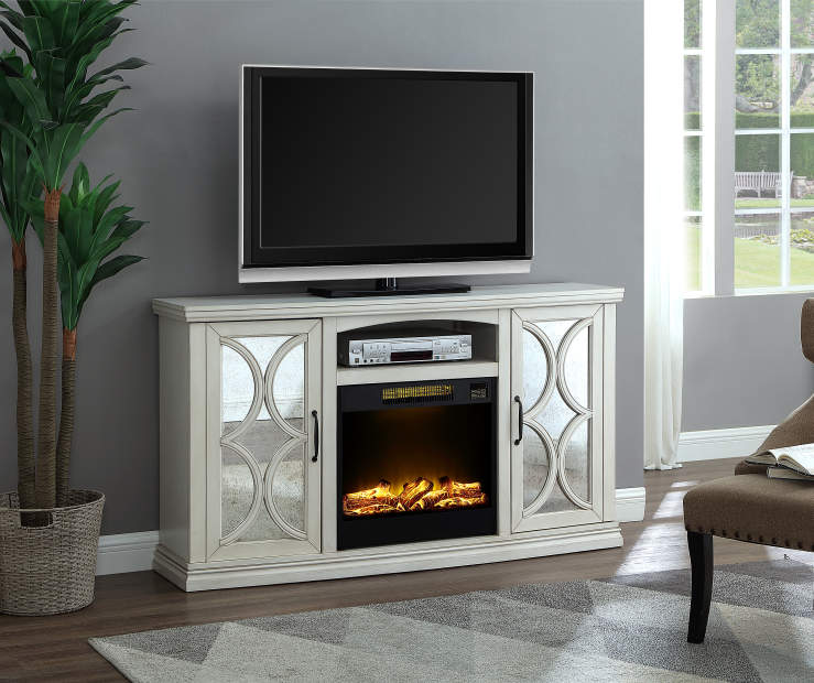 60 White Mirror Door Console Electric Fireplace Big Lots Big
