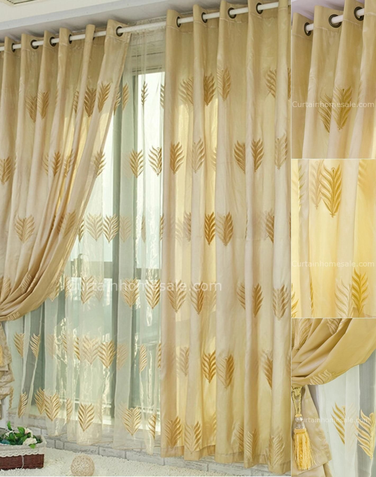 Fabulous Leaf Patterns Embroidery Bedroom Blackout Yellow Gold