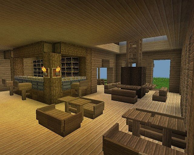 Wood Living Dining Room With Bar Area Minecraft