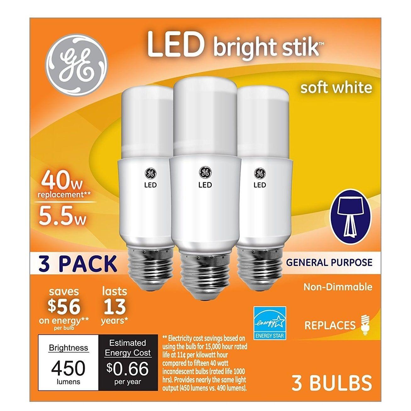 Ge Lighting 63551 Led Brightstik Light Bulb Soft White 5 5