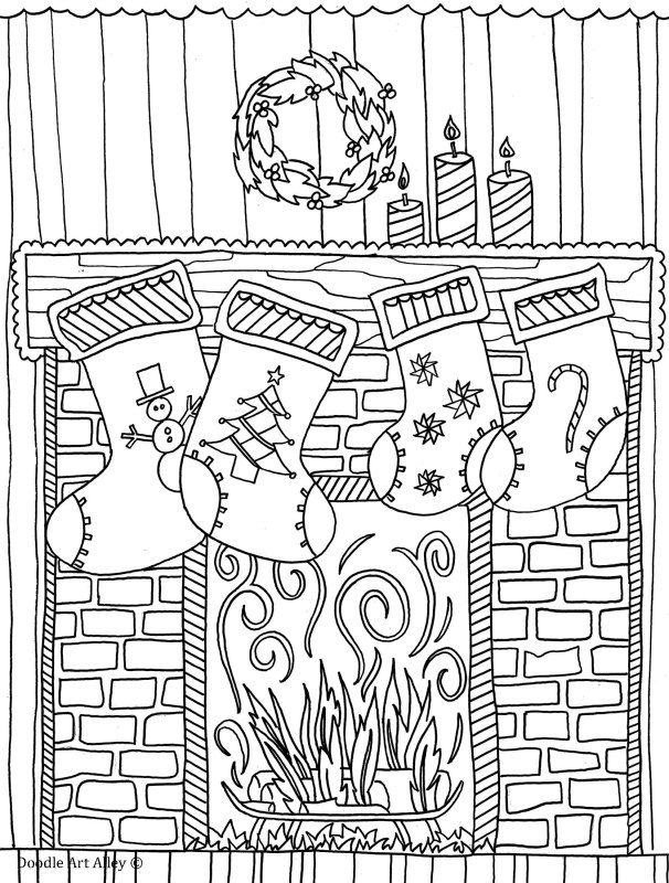 Christmas Chimney And Stockings Coloring Page Doodle Art Alley
