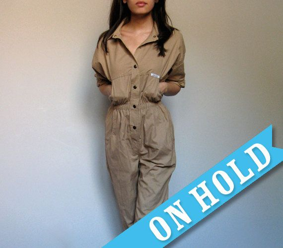 Vintage Beige Jumpsuit Women Utility Flight Suit Safari Button Up ...