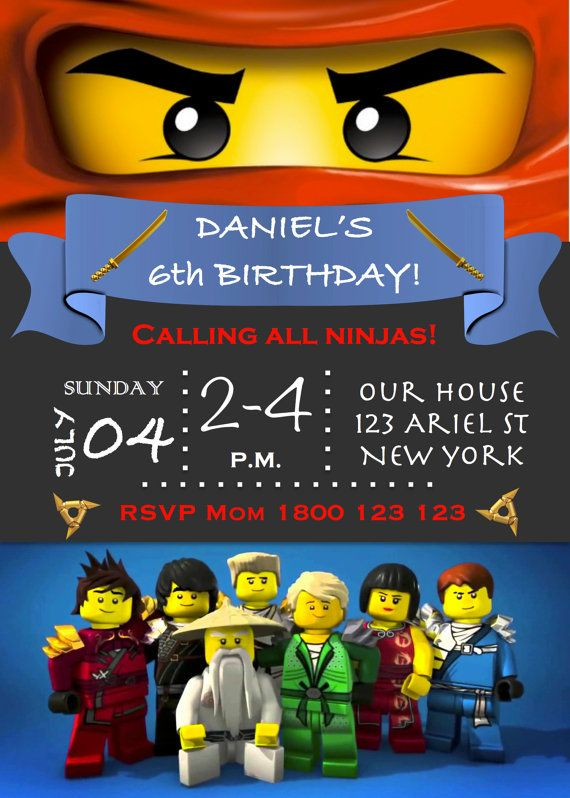 Ninjago Lego Birthday Party Invitation PDF by ReadySteadyPrint