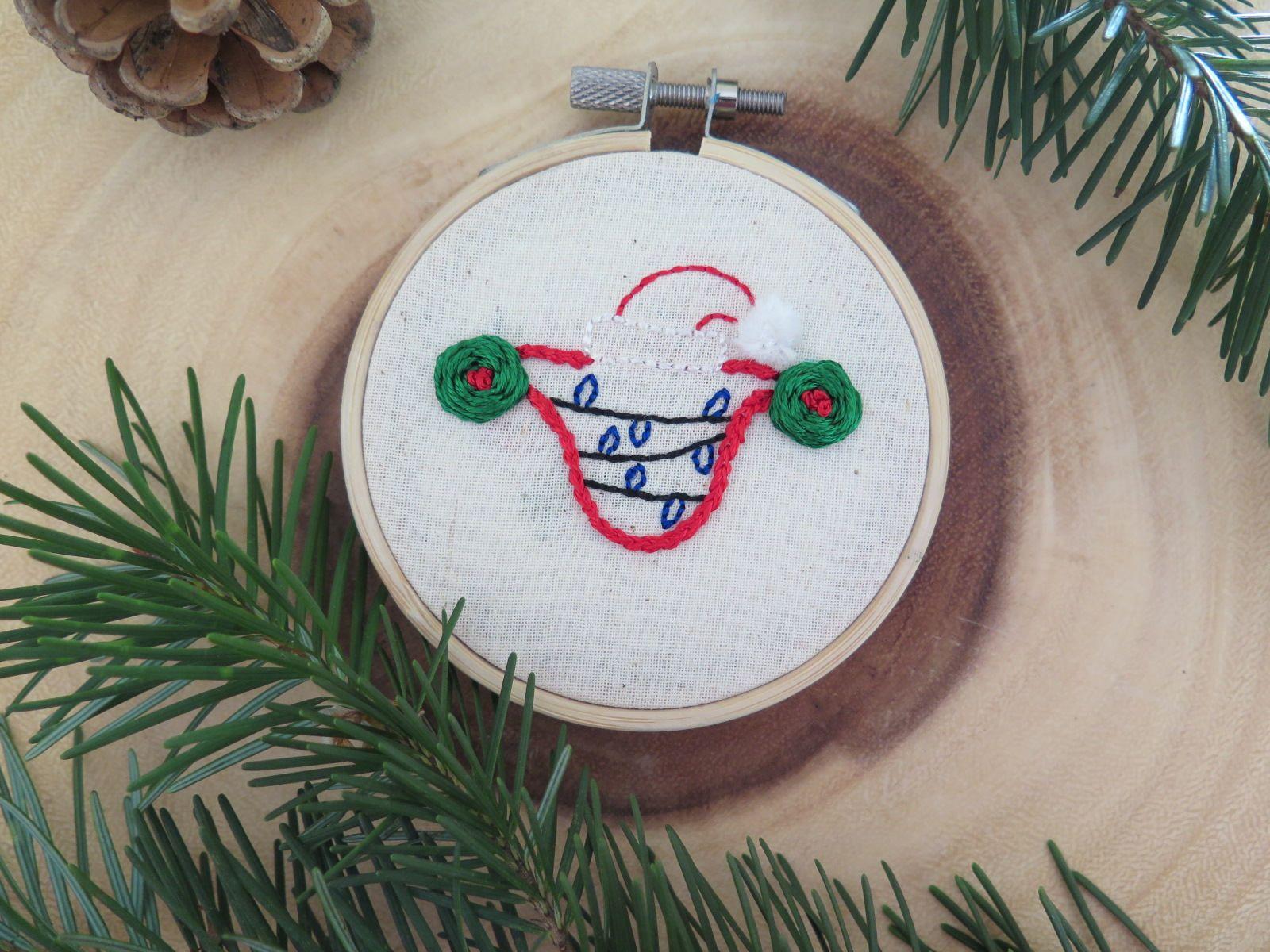 Christmas Uterus Christmas Ornament Feminist Embroidery Hoop Art