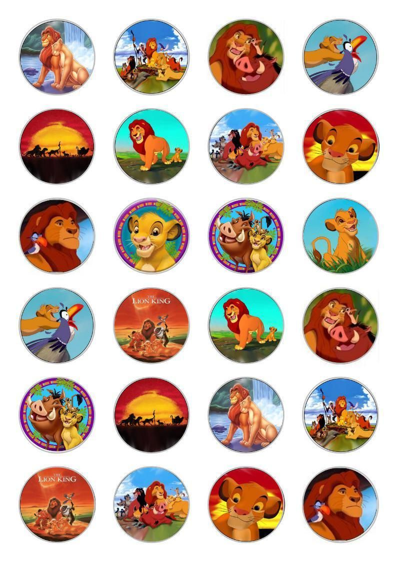 24 Lion King Cupcake Cake Toppers Edible Rice Paper