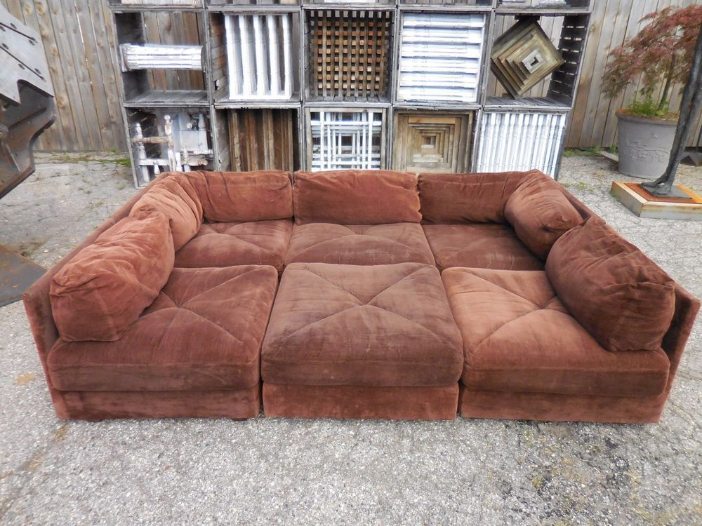 A iconic original Selig 70\'s 6pc pit style sectional sofa. 3 ...