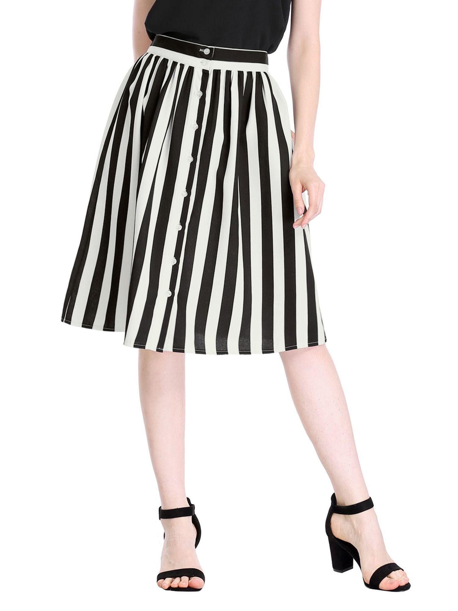 53fb2424e7 Unique Bargains Women s Striped Elastic Back Waist A Line Midi Skirt Women