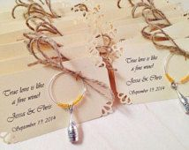 1 to 50 Bottle Personalized Wine charm favors for wedding favors, bridal shower favors, birthday favors, etc. Fully Customized.