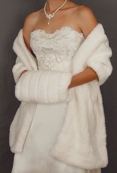 Ivory Faux Fur Wrap Stole Shrug Bridal Wedding By SpAZooiEBridal