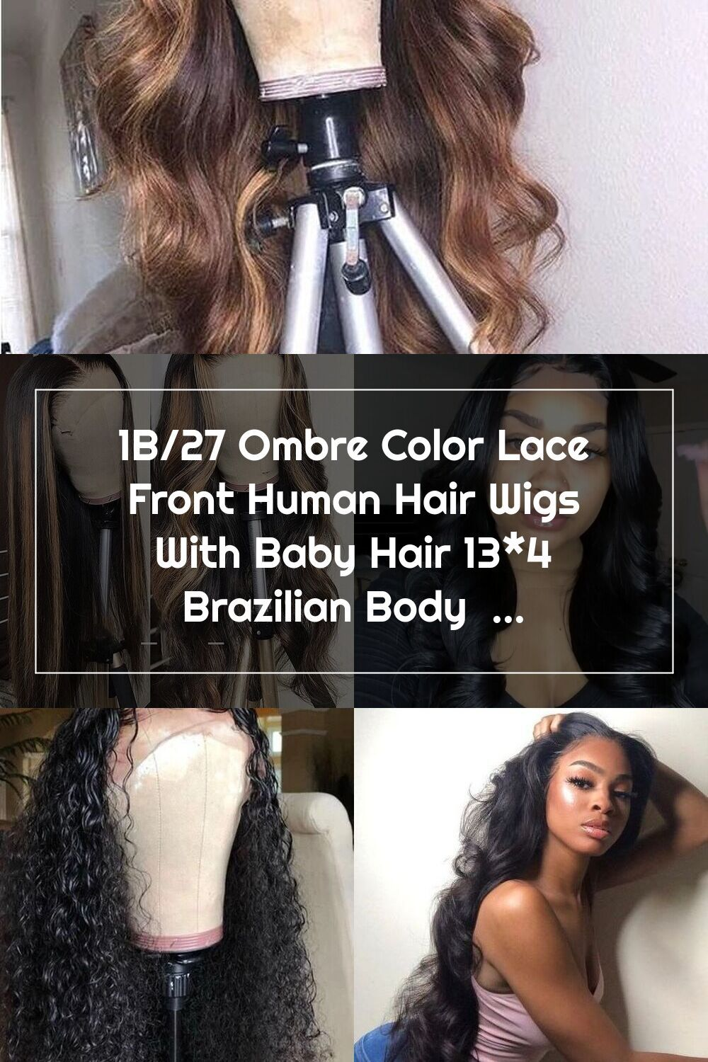 Yoniswigs 1B/27 Ombre Color Lace Front Human Hair Wigs