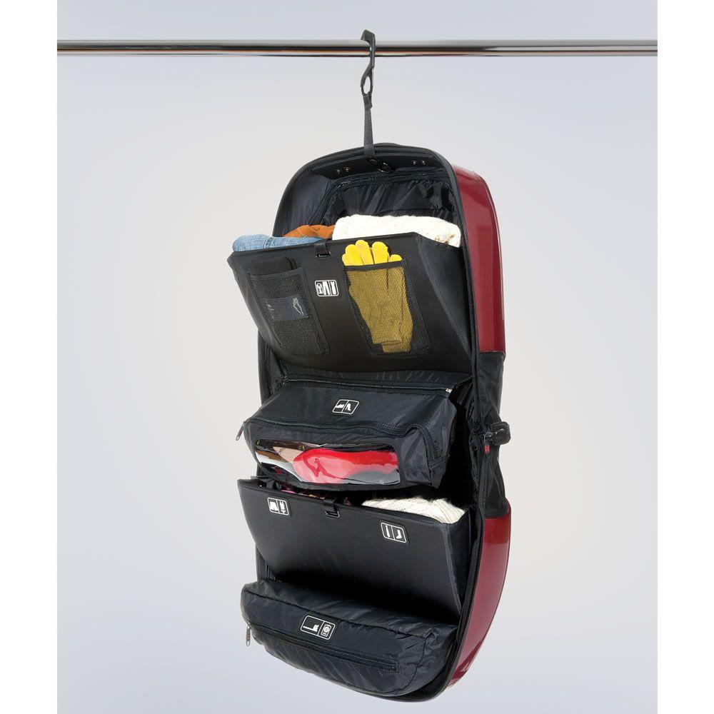 The CarryOn Closet Hammacher Schlemmer Hanging open