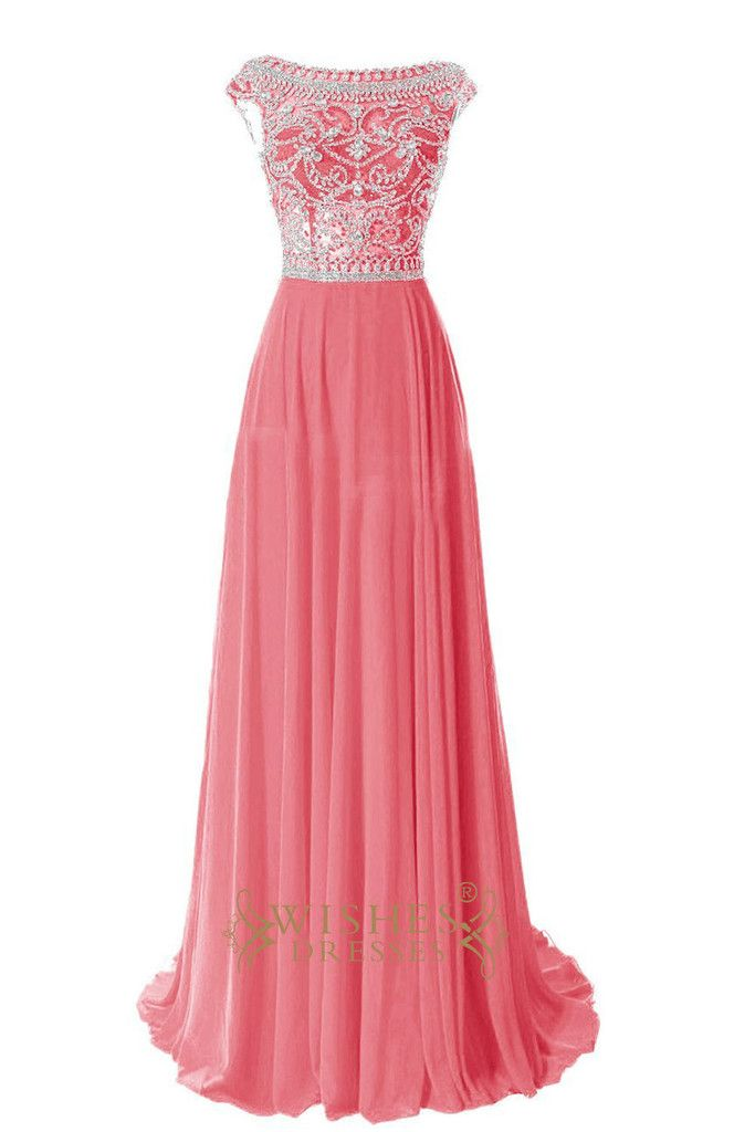 Delicated Beaded Bodice Red Chiffon Long Prom Dresses Am204 ...