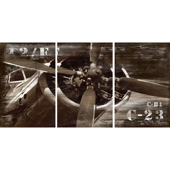 3 Piece Vintage Airplane Canvas Wall Art | Art | Pinterest ...