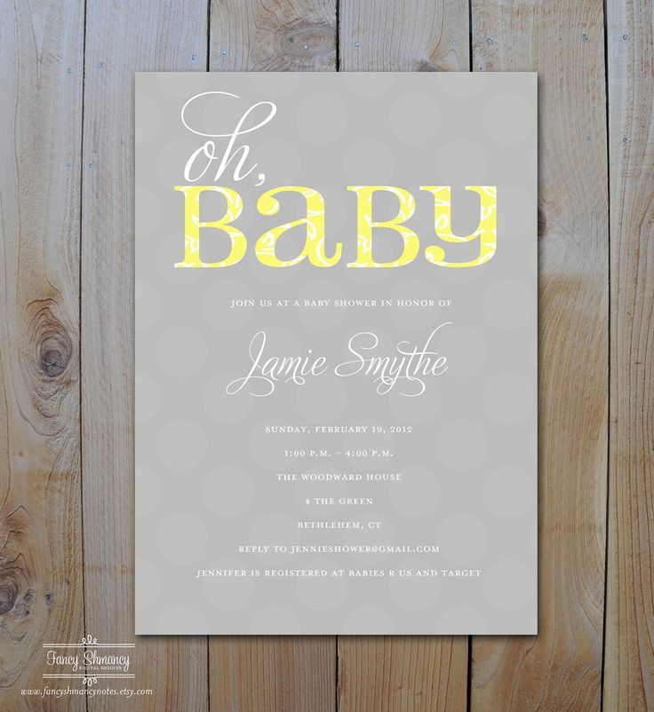 Oh BaBy Yellow and Grey Baby Shower Invitation, Printing options ...