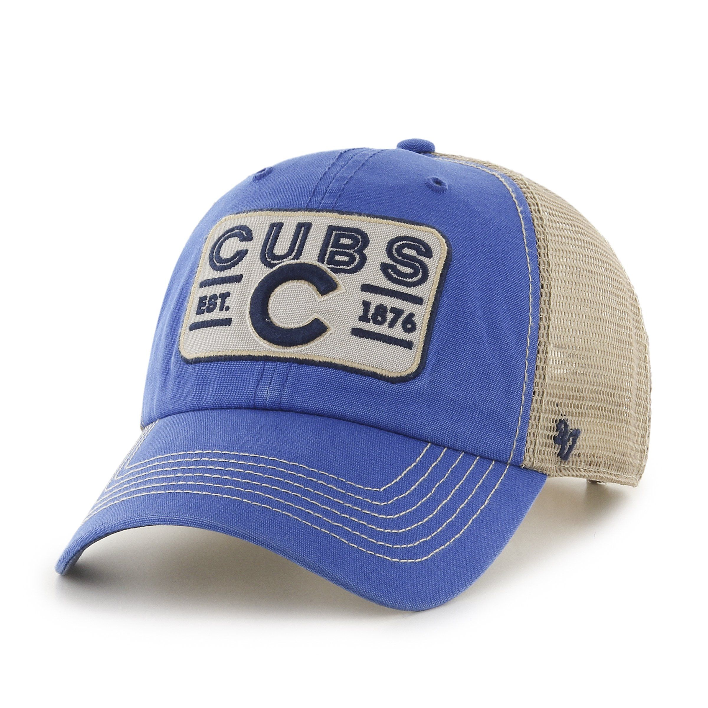 Chicago Cubs 47 Brand Blue w Tan Mesh Patch Logo Snapback Slouch Hat ... 9ffc1a412956