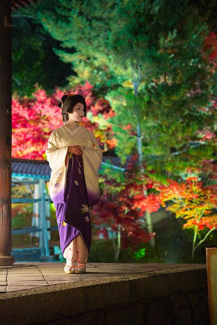 geisha-kai: November maple leaves with geiko Sayaka by Leica Camera on Flickr