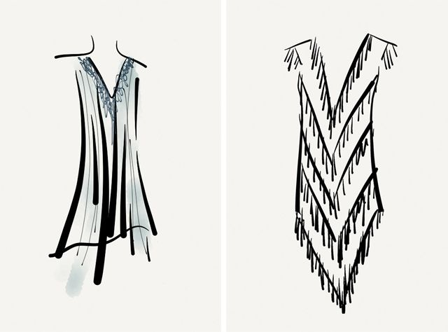 Draw Wings of Flapper Dresses Vintage