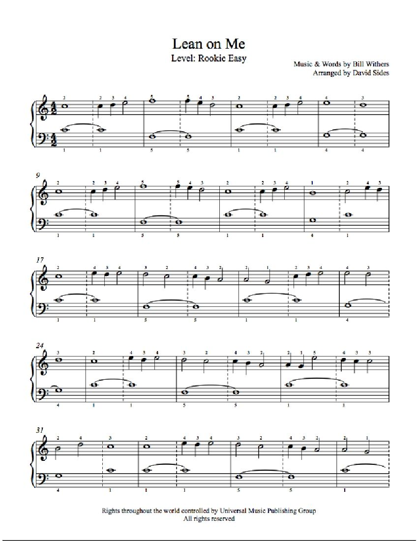Lean On Me by Bill Withers Piano Sheet Music : Rookie Level : Playground Rookie Sheet Music ...