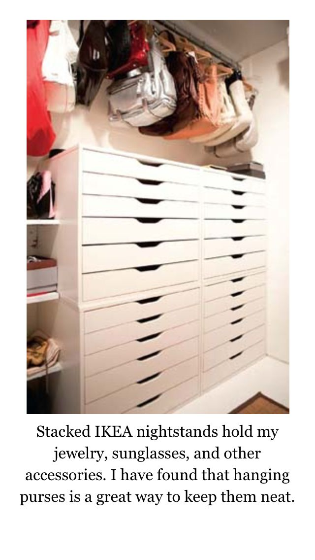 Stacked Ikea ALEX Drawer units to hold jewelry sunglasses and