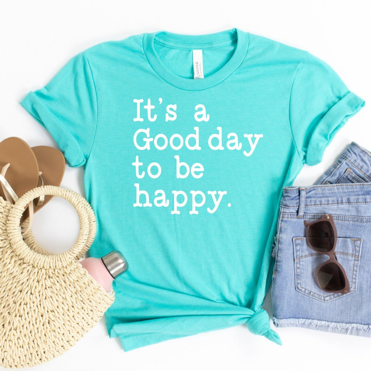 It's A Good Day To Be Happy (White) - S / Deep Heather
