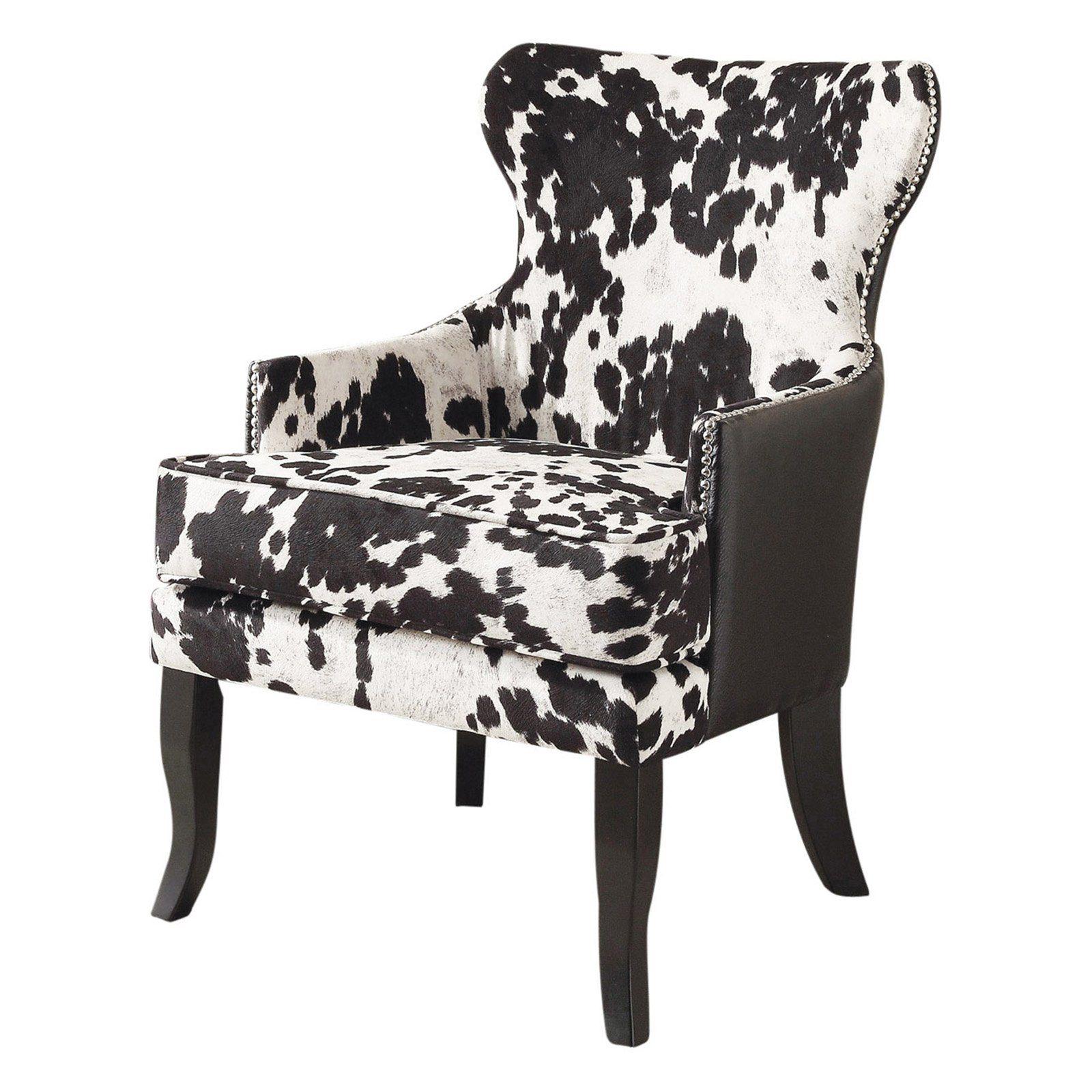 !nspire Faux Cow Hide Accent Chair with Stud Detail from