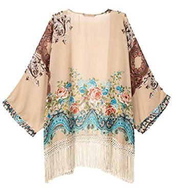 Amazon.com: Vintage Women Girls Floral Print Long Loose Kimono Jacket Coat Cardigan Blouses: Clothing