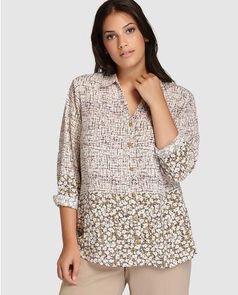 a2eeec34517c Camisa de mujer talla grande Talla y Moda con distintos estampados ...