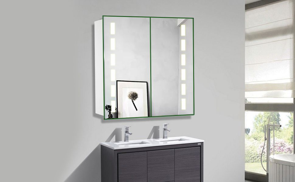 Warmiehomy 650 X 600 Mm Morden Led Bathroom Mirror Cabinet Illuminated Bathroom Mirror With Lights S Led Mirror Bathroom Mirror Cabinets Bathroom Mirror Lights