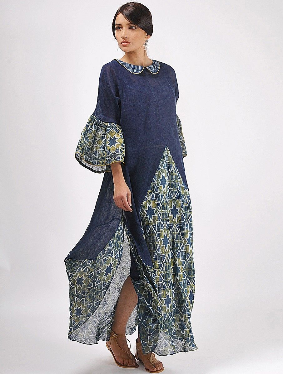 64322301cbc8c Buy Indigo Ivory Ochre Natural dyed Ajrakh printed Handwoven Linen Dress  Women Dresses An Spin khadi cotton tops capes and more Online at Jaypore.com