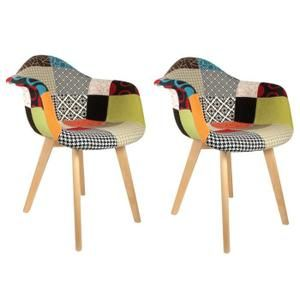 fauteuil fauteuil scandinave patchwork color lot de 2 - Chaise Scandinave Multicolore