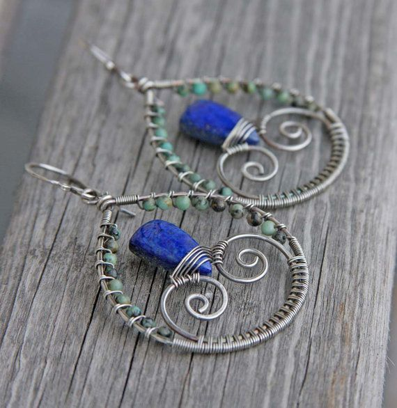 Sterling Silver Lapis Lazuli African Turquoise by AlaskaFirefly, $61.00