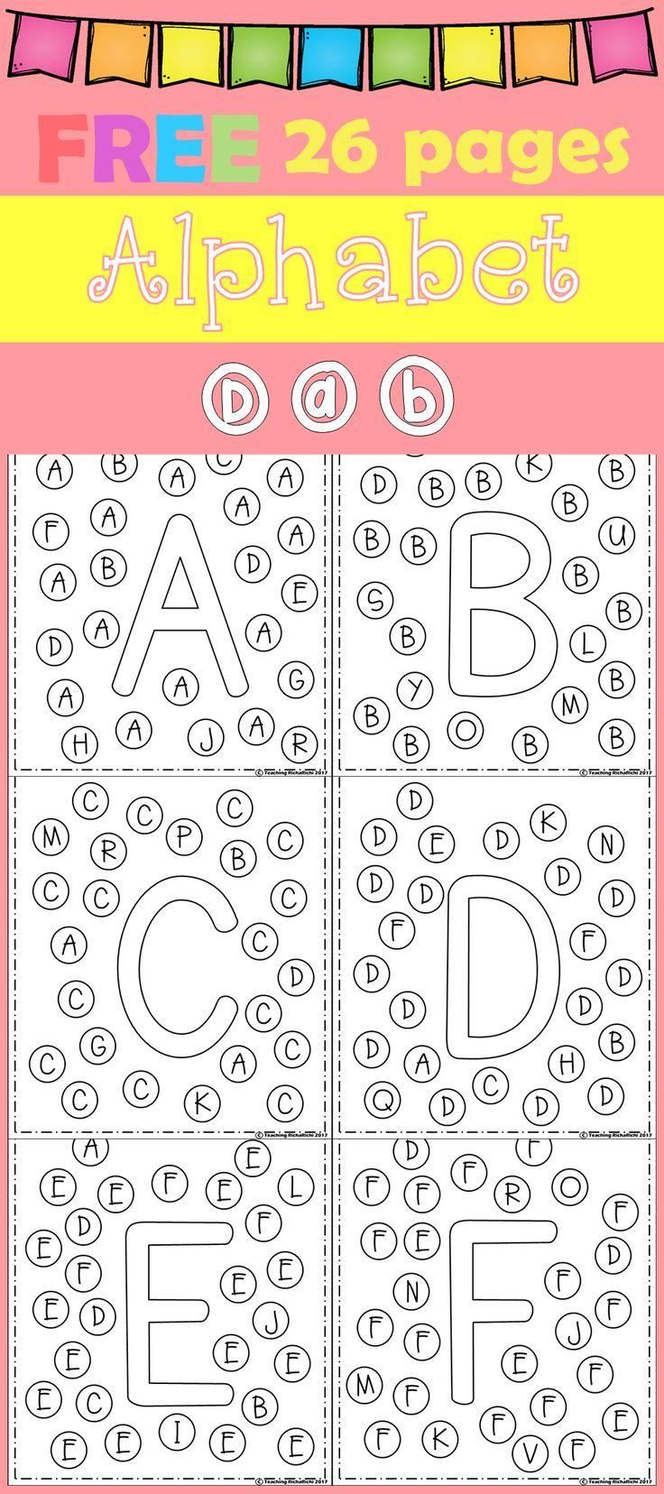 FREE Freebies Alphabet Dap A-Z 26 pages. For PreK and Kindergarten ...