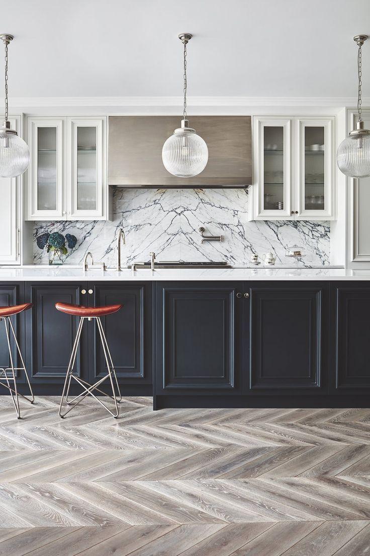 Black island with white main cabinets   Interior design ...