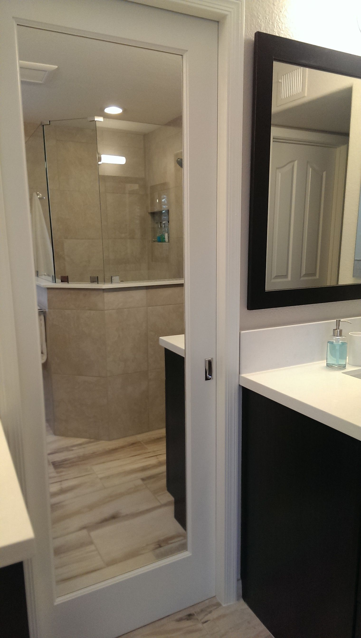 Pocket Door With 2 Sided Mirror Leads To Walk In Closet Pocket Doors Bathroom Bathroom Closet Storage Bathroom Design