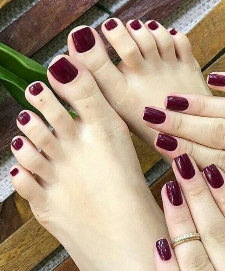 Nice burgundy toenails | Nail art | Acrylic nails, Toe nails, Toe ...