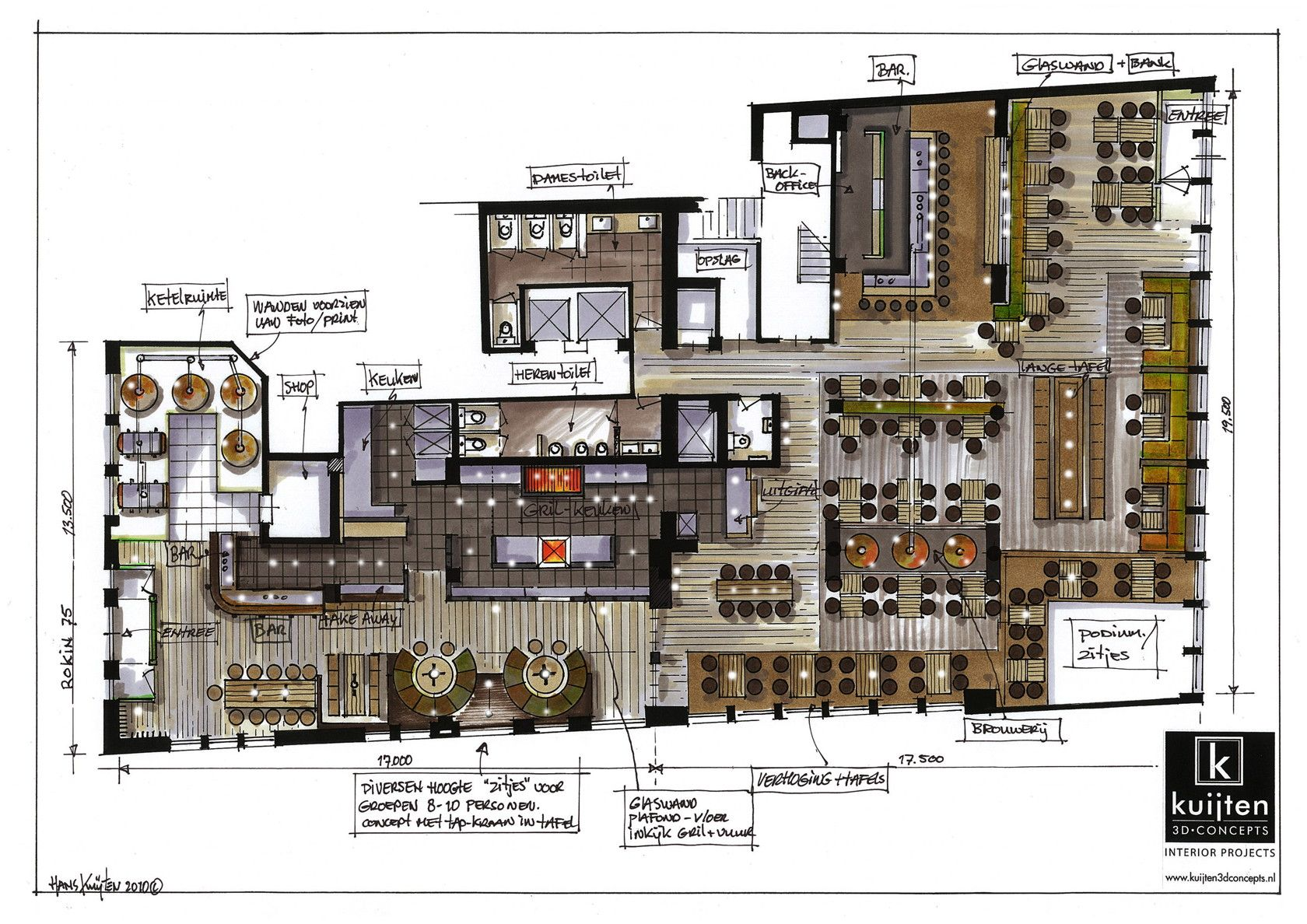 Hans kuijten projecten plan graphics i like it what for Restaurant drawings floor plans