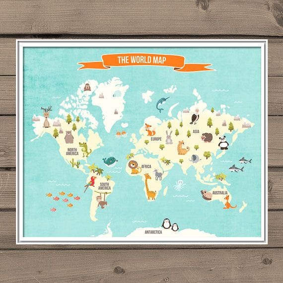 World Map Decal World Map Animals Animal World Poster Map Compassion World  Map Wall Decal Kids Room Nursery Decor PDF Digital PRINTABLE 8x10