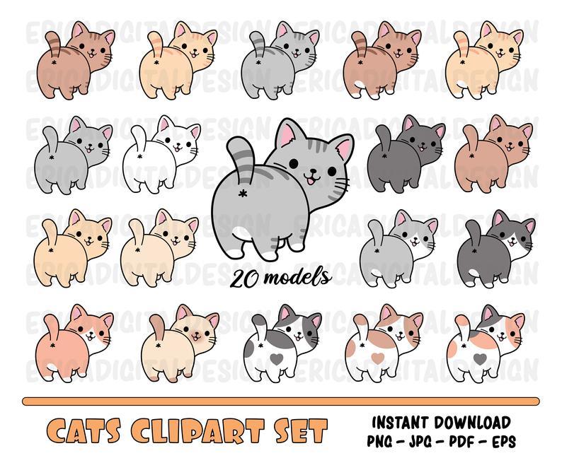 Cats Clipart Set Cute Cat Digital Clip Art Funny Cats Kawaii Etsy Cat Clipart Kawaii Clipart Digital Clip Art